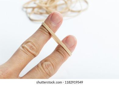 yellow Rubber Band with white background