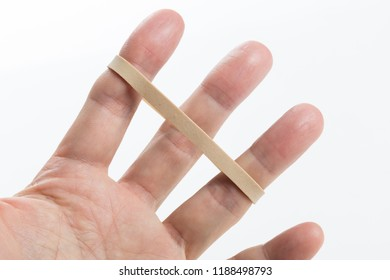 a yellow Rubber Band with white background