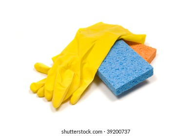 yellow rubber cleaning gloves with a blue and orange sponge on a white background