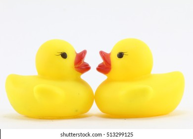 Yellow rubber duck on White Background