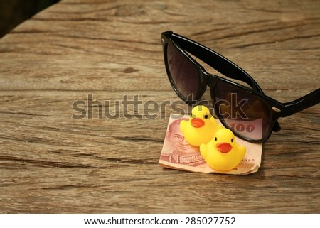 Yellow Rubber Duck Sunglasses Money Thai Stock Photo (Edit Now ...