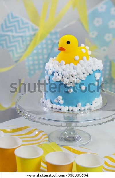 Surprising Yellow Rubber Duck Theme Birthday Cake Stock Photo Edit Now Funny Birthday Cards Online Alyptdamsfinfo