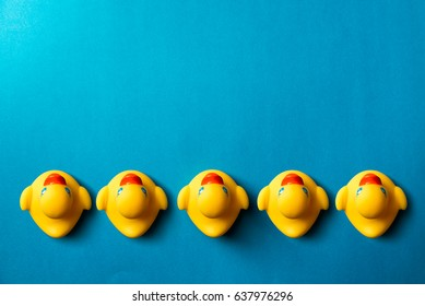 Yellow rubber ducks organized on blue background.