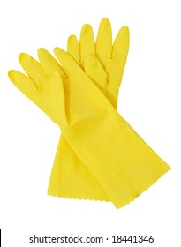 yellow rubber gloves, white background
