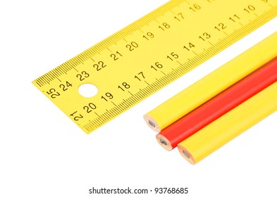 Yellow ruler and pencil, isolated on white background