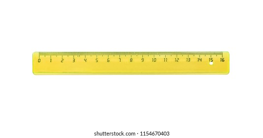 The yellow ruler is plastic for measuring centimeters and millimeters. Isolated on white.