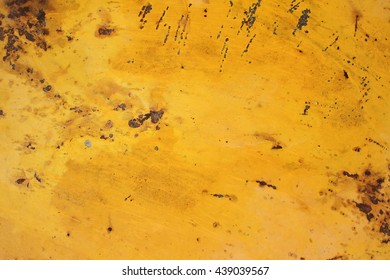 Yellow Rusty corrugated metal wall background texture