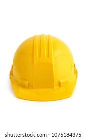 Yellow safety hard hat. Isolated on white background.