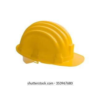 Yellow safety helmet construction is isolated on white background