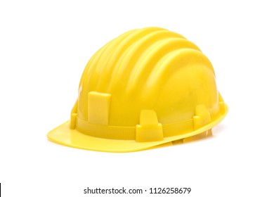 Yellow safety helmet or hard hat isolated on white background