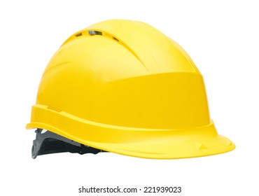 Yellow safety helmet, isolated on white background