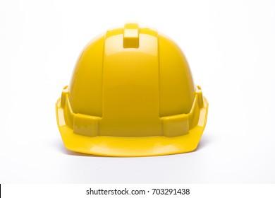 Yellow safety helmet isolated on white background