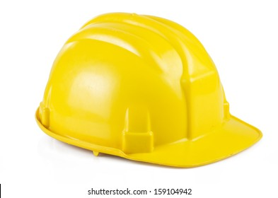 Yellow safety helmet on the white background