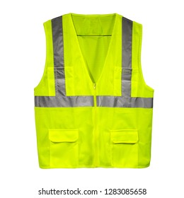 A yellow safety vest isolated on white background viewed at the front. Protest symbol