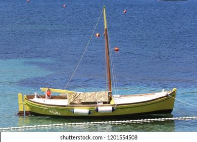 The yellow sailer on sea, Vis, Croatia