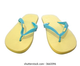 yellow sandals slippers on wite background (isolated with path)