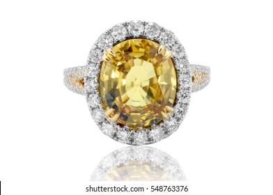 Yellow sapphire and diamond ring in gold, wedding jewelry