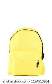Yellow school backpack on white background