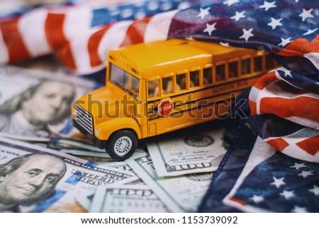 Yellow School Bus Children Educational Transport Stock Photo