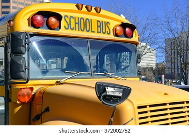 Yellow School Bus closeup of front end