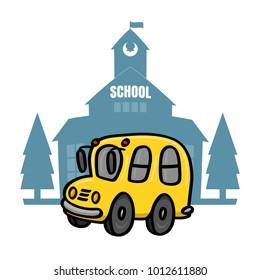 Yellow school bus in front of school illustration