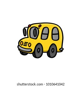 Yellow school bus illustration on white background