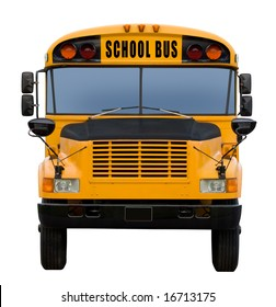Yellow school bus isolated on white - front view