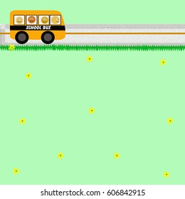 yellow school bus on a country road illustration