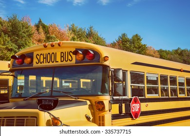 Yellow school bus in parking lot against autumn trees with beautiful blue sky