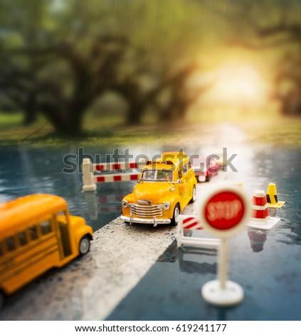 Yellow School Bus Toy Model Crossing Stock Photo (Edit Now