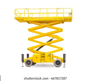 Yellow scissor wheeled lift on a light background