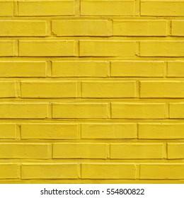 Yellow seamless brick pattern wall