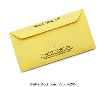 Yellow Secure Voting Envelope Isolated on White Background.