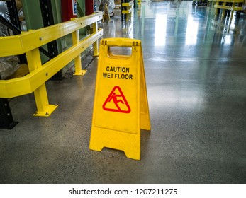 Yellow self standing wet floor warning sign
