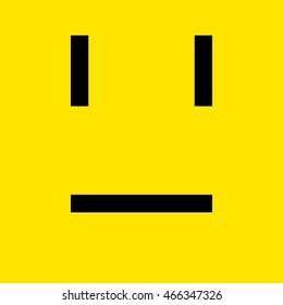 Yellow serious face pixel art smiley emoticon