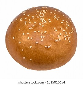 Yellow sesame bun for hamburger bun with seeds isolated on white background