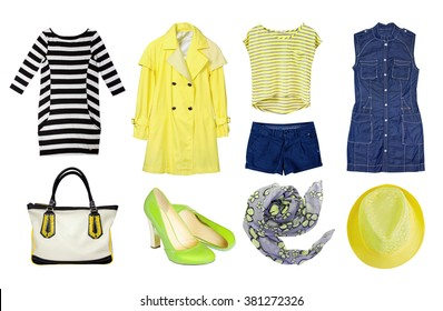 Yellow set female clothes isolated. Collage of women's spring clothing & accessories.Coat,top,dress,shoes.Modern fashion wear.