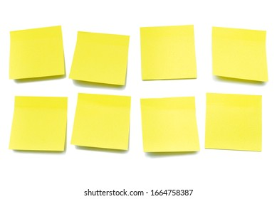 Yellow sheets for notes on a white background, isolate