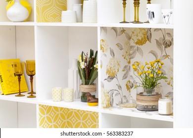 Yellow shelves house interior
