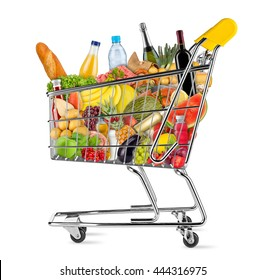 yellow shopping cart filled with various food and beverages isolated on white background