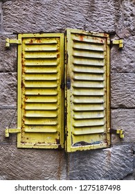 Yellow shutters provide a bit of color in the Old City of Jerusalem.