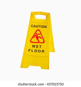 Yellow sign that alerts for wet floors  isolated on white background