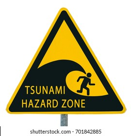 "Yellow sign ""Tsunami warning"" isolated on white background"