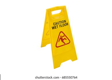 yellow sign and wet floor and slippery floor caution  on white baclkground and isolated