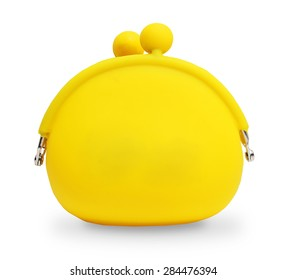 Yellow silicone coin purse isolated over white
