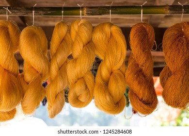 yellow silk, line of raw thai silk ,color material for woven silk handicraft thai style Colorful thread silks dye from natural