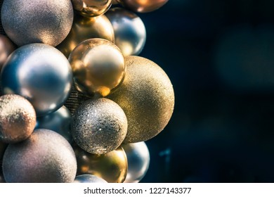 Yellow and silver Christmas balls for a christmas background