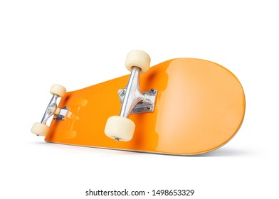 Yellow skateboard deck, isolated on white background. File contains a path to isolation