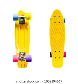 Yellow skateboard top and underside isolated on white background
