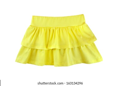 yellow skirt for girl, isolated on white background